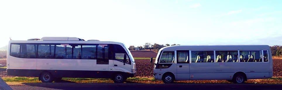 Two charter buses